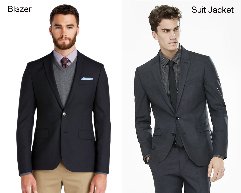 Four reasons why this suit jacket doesn't work as a blazer. Shutterstock Contrary to what many men think, there is a measurable difference between a suit jacket and a blazer.